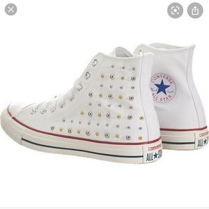 Converse all star white studded high top sneakers